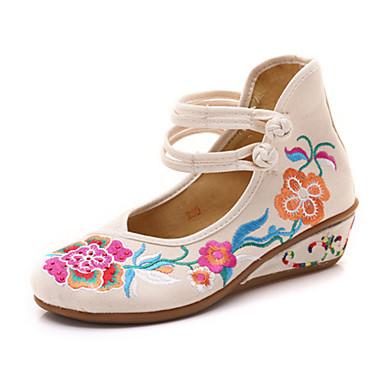 c837443441b39 Mujer Zapatos Tela Primavera verano   Otoño invierno Confort Bailarinas  Tacón Cuña Dedo redondo Hebilla Blanco   Negro   Rojo