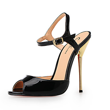 Pentru femei Pantofi PU Vară Balerini Basic Sandale Toc Stilat Vârf rotund Negru / Rosu / Nuntă / Party & Seară