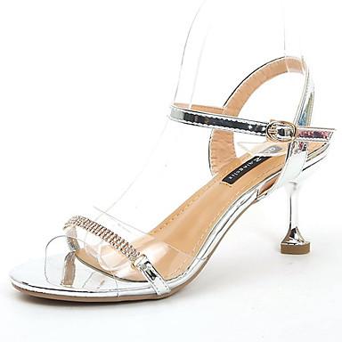 Pentru femei Pantofi PU Vară Pantof cu Berete Sandale Toc Mic Auriu / Argintiu / Party & Seară