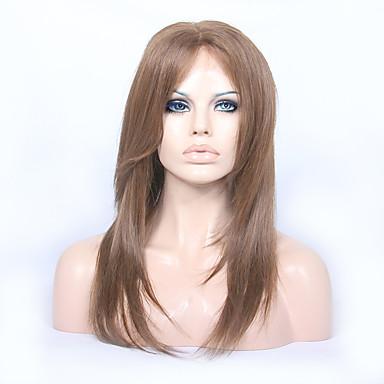billige Blondeparykker med menneskehår-Remy Menneskehår Helblonder uten lim Halvblonder uten lim Helblonde Parykk Lagvis frisyre Midtdel stil Brasiliansk hår Rett Parykk 130% 150% Hair Tetthet 8-22 tommers med baby hår Naturlig hårlinje
