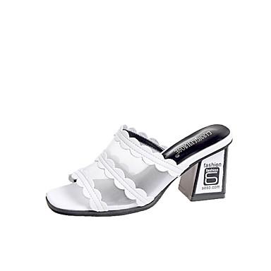 Pentru femei Pantofi PU Vară Pantof cu Berete Sandale Blocați călcâiul Vârf deschis Alb / Negru / Party & Seară