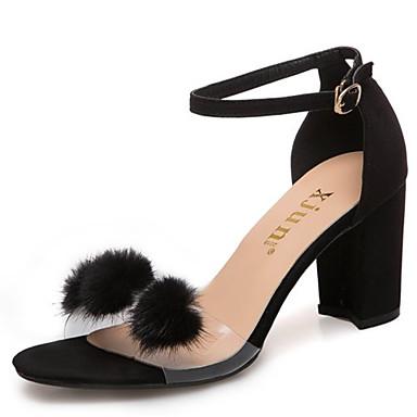 Pentru femei Pantofi PU Vară pantofi transparent Sandale Toc Îndesat Negru / Bej
