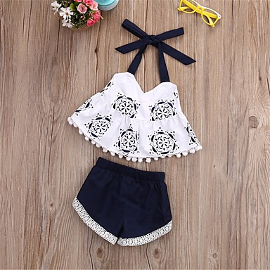 e0a61a46206 Baby Girls  Active Daily Print Sleeveless Regular Cotton   Polyester  Clothing Set White