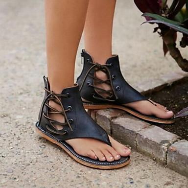 Eté 06728541 Cuir Plat Bride Café Sandales A Noir Femme Chaussures Faux Arrière Talon Marron UqOttg
