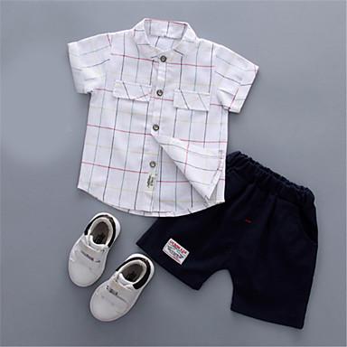 Bebelus Băieți De Bază Mată Manșon scurt Set Îmbrăcăminte / Copil