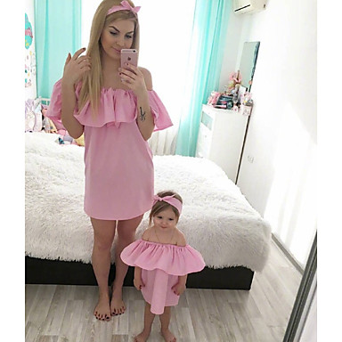 34c52a2295f0 Adults Mommy and Me Basic Daily Solid Colored Short Sleeve Polyester Dress  Blushing Pink