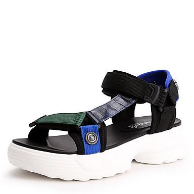Bout Sandales Confort ouvert Boucle Eté Noir 06758454 Femme élastique Tissu Creepers Chaussures Jaune RqSTgg