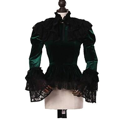 Cosplay Lolita Rococo Costume Pentru femei Bluză / Cămașă Manta Verde / Negru Vintage Cosplay Pluș Manșon Lung Mâneci Bufante