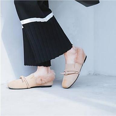 Plat Cuir Mocassins Chaussures Talon Confort été D6148 06769676 Chaussons Pom Bout fermé Amande Printemps pom Noir Nappa et Femme Daim wzxqE646