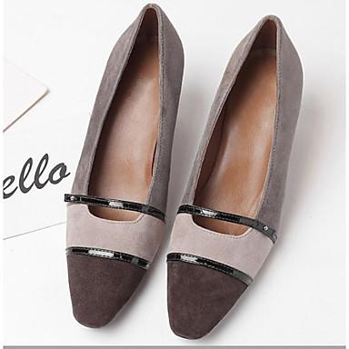 Peau Basique de Printemps Talons 06767086 Escarpin Gris mouton Chaussures Femme à Confort Heel Chaussures Kitten 0xAwq45