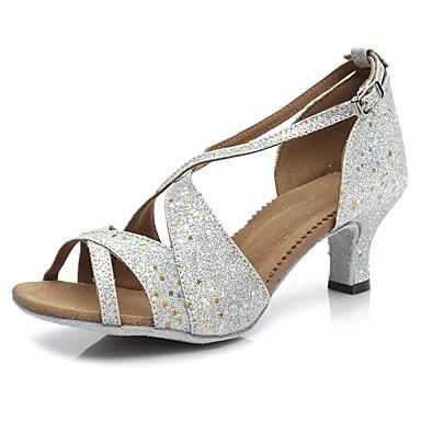 baratos Sapatos de Salsa-Mulheres Couro Sintético Sapatos de Dança Latina / Sapatos de Salsa Presilha Sandália / Salto Salto Alto Magro Personalizável Prateado / Espetáculo / EU40