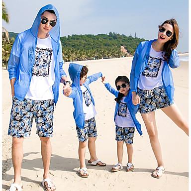 billige Familie-tøjsæt-Family Look Basale Strand Ensfarvet Langærmet Bluse Blå