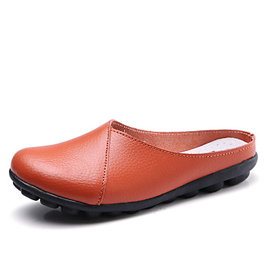 Plano Tacón Zuecos Cuero Azul Rojo Café Claro Confort y Mujer 06755529 pantuflas Zapatos Verano SR8xIUn0