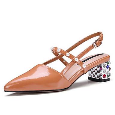 Sandales Bout Femme Talon Noir Perle Blanc été pointu Imitation Orange 06771045 Printemps Nappa Paillette Confort Chaussures Brillante Bottier Cuir zwrYz