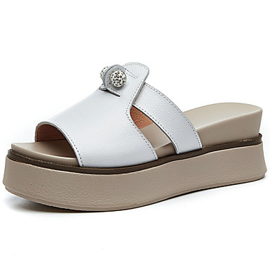 Pentru femei Pantofi Piele Primavara vara Confortabili Sandale Creepers Alb / Rosu / Roz