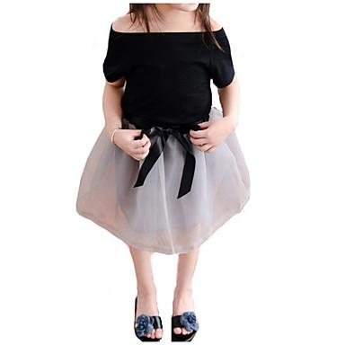 Copil Fete De Bază / Șic Stradă Zilnic / Concediu Mată Plasă Manșon scurt Regular Bumbac / Poliester Set Îmbrăcăminte Negru 100