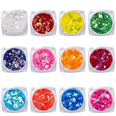 12pcs Forme Di Arte Del Chiodo Gioielli Per Unghie Adorabile - Colorato Manicure Manicure Pedicure Brillanti - Con Lustrini Casual #06756504