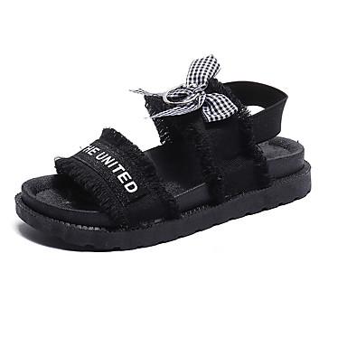 Pentru femei Lenjerie Vară Confortabili Sandale Plimbare Toc Drept Vârf deschis Alb / Negru / Bloc Culoare