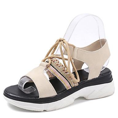 Pentru femei Pantofi Piele de Căprioară / PU Vară Pantof cu Berete Sandale Toc Drept Negru / Bej