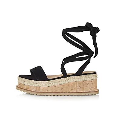 de Cuir Cheville semelle Femme de Bout Noir Hauteur ouvert Faux Bride 06764813 Chameau Chaussures Sandales compensée Eté Vert HvwYEYznq