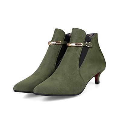 Femme Boucle Kitten hiver Gris Bottes Bottine Faux Rouge Botillons pointu 06756550 Botte Automne Vert Heel Cuir Bout Chaussures Demi gwxr61qg