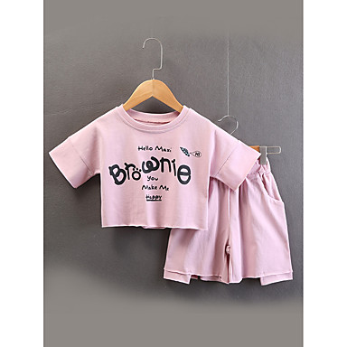 Copii Fete Mată / Imprimeu Manșon scurt Set Îmbrăcăminte