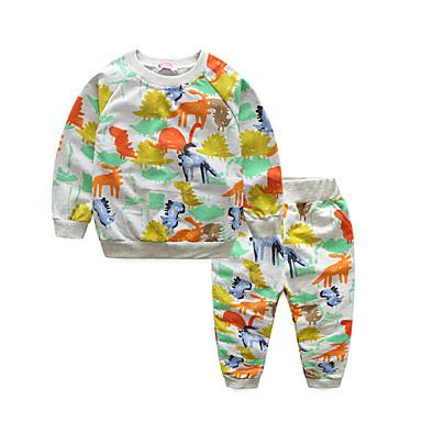 Bebelus Băieți Activ Zilnic / Sport Imprimeu Manșon Lung Regular Bumbac Set Îmbrăcăminte Gri 100 / Copil