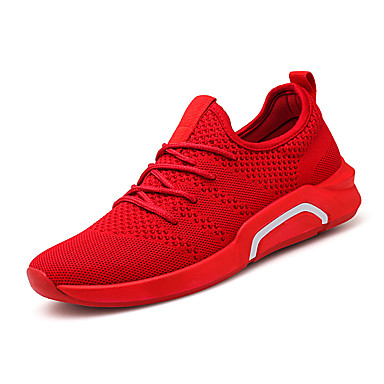 Men's Comfort Shoes Elastic Fabric Spring & Summer Sporty / Casual Athletic Shoes Running Shoes Breathable Black / Gray / Red