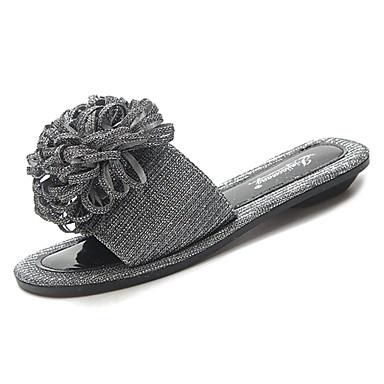 Zapatos y 06764705 Verano Dedo flip Confort Beige Zapatillas Mujer Plano redondo de Flor Tacón PU flops Negro Satén FXdxq