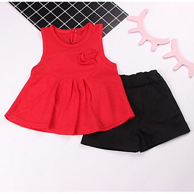 Bebelus Fete De Bază Imprimeu Fără manșon Lung Set Îmbrăcăminte / Copil