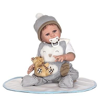 NPKCOLLECTION MUÑECA NPK Muñecas reborn Bebés Niños 22 pulgada Cuerpo completo de silicona Vinilo - Regalo Bonito Artificial Implantation Brown Eyes Kid de Chico / Chica Juguet Regalo