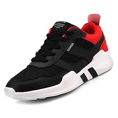 Bărbați Pânză Vară Confortabili Adidași de Atletism Plimbare Bloc Culoare Alb / Negru / Alb / Negru / Roșu