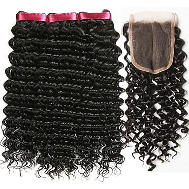 baratos Extensões de Cabelo Natural-3 pacotes com fechamento Cabelo Brasileiro Encaracolado 8A Cabelo Humano Cabelo Humano Ondulado Extensões de Cabelo Natural Trama do cabelo com Encerramento 8-22 polegada Côr Natural Tramas de cabelo