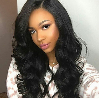 cheap Wigs & Hair Pieces-Virgin Human Hair Glueless Lace Front Lace Front Wig Free Part Kardashian style Brazilian Hair Natural Wave Black Brown Wig 130% 150% 180% Density with Baby Hair Natural Hairline Pre-Plucked Bleached