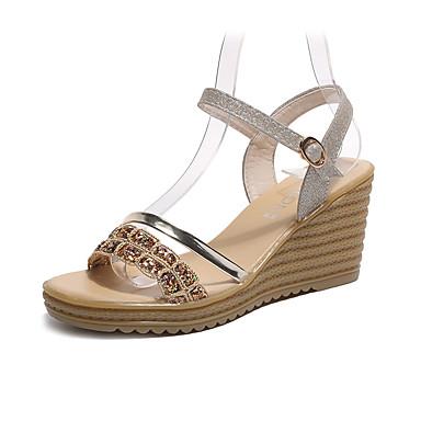 Pentru femei Pantofi Imitație Piele Vară Confortabili Sandale Toc Platformă Auriu / Argintiu