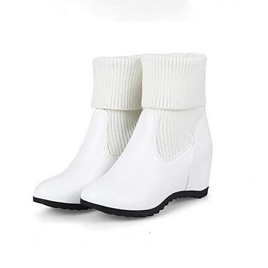 Chaussures mollet Marche Hiver Bottes Mi Confort Bout Tricot Bas Femme Basique rond 06830690 Bottes Noir Escarpin Talon Blanc g0wdR6