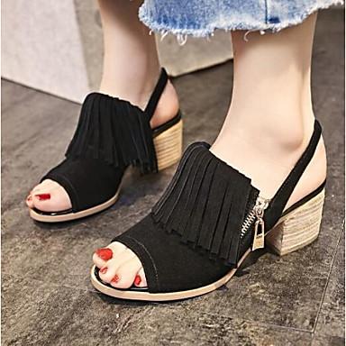 Confort Femme Noir Bout Talon Bottier 06775812 Sandales Gris Chaussures ouvert Daim Eté StwSxRF6q