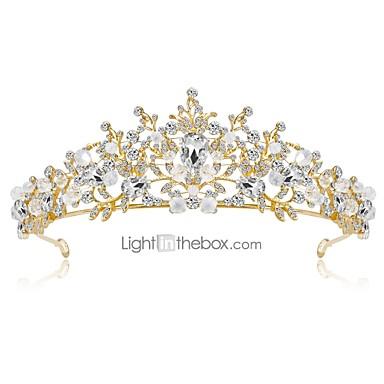 baratos Bijuteria de Mulher-Mulheres Floral Elegante Strass Chapeado Dourado Liga Zircônia Cubica Tiaras testa Crown Casamento Festa