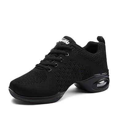 Amichevole Per Donna Sneakers Da Danza Moderna A Maglia Sneaker Sided Hollow Out Tacco Spesso Personalizzabile Scarpe Da Ballo Bianco - Nero #06840099