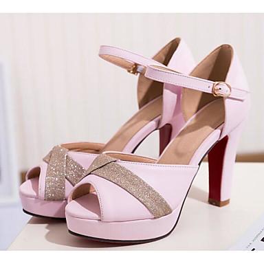 Women's Shoes PU(Polyurethane) Summer Comfort / Basic White Pump Sandals Chunky Heel White Basic / Black / Pink d31cbd