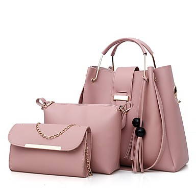 Žene Torbe PU Bag Setovi 3 kom Patent-zatvarač / S resicama Blushing Pink / Deva / Sive boje