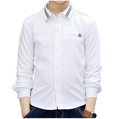baratos Camisas para Meninos-Infantil Para Meninos Básico Moda de Rua Diário Sólido Manga Longa Padrão Algodão Camisa Azul