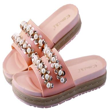 Media 06779233 Mujer de Fucsia plataforma Confort Perla Rosa Blanco PU abierta Verano Zapatos Sandalias Imitación Puntera nqfZqgXr
