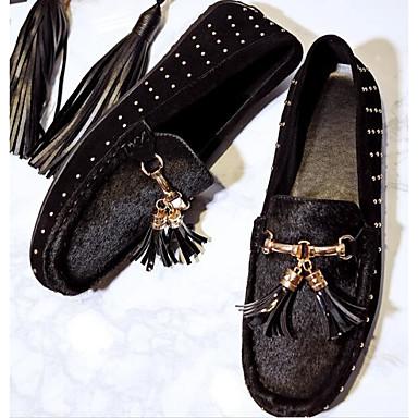 Automne Talon Printemps Confort 06840747 et amp; Chaussures Plat mouton Peau Noir Mocassins D6148 de Chaussons Femme 7p4qwYBW