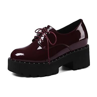 Printemps Noir Amande Oxfords Chaussures Talon Cuir Bout Femme Verni Confort Vin 06778643 Bottier Automne rond qPSnZta