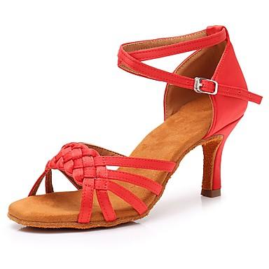 a2d3721b23db Žene Cipele za latino plesove Saten Štikle Tanka visoka peta Moguće  personalizirati Plesne cipele Crvena