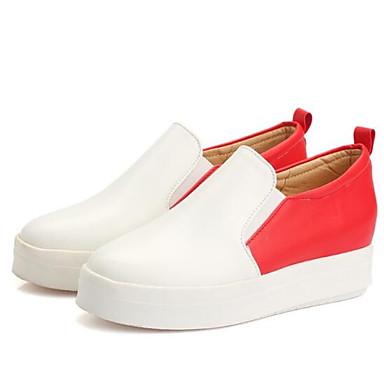 Plano Rojo On Zapatos Amarillo Slip Rosa PU cerrada taco bajo Confort 06833547 y Tacón Verano Primavera Zapatos de Punta Mujer OTfnpxPn