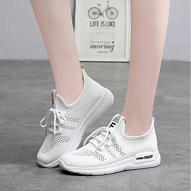 Malla 06825900 Confort Negro Tacón Zapatos Blanco de Running Rosa Plano Verano Mujer Atletismo Zapatillas Punto TZUqxE