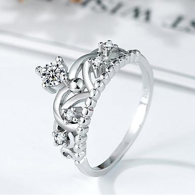 billige Motering-Dame Ring Micro Pave Ring Princess Crown Ring 1pc Sølv Kobber Platin Belagt Fuskediamant damer trendy Elegant Daglig Ut på byen Smykker Elegant Hul Krone Søtt