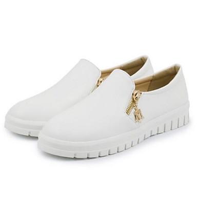 cerrada Blanco Plano taco Slip 06810757 Zapatos PU Punta y Negro On bajo Zapatos de Confort Mujer Verano Tacón Primavera xZpOZHq